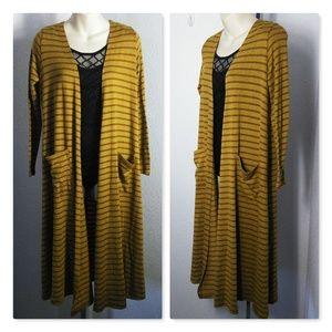 lularoe Mustard Yellow Striped XS Sarah Cardigan
